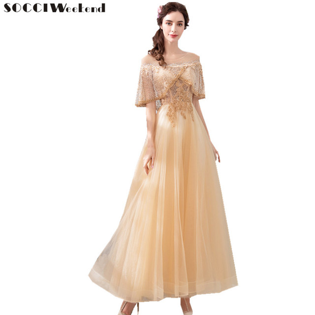 SOCCI Weekend Long Evening Dresses 2018 New Top Lace Beading Pearls Formal Gold Luxury Party Dress Prom Gowns Robe De Soiree