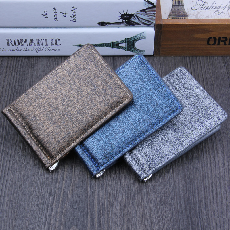 Fashion New wallet Unisex men women Money Clips Black Brown Top PU Leather 2 Folded Open Clamp For Dollar no Zipper Coin Pocket