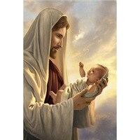Diy Diamond Painting Cross Stitch Needlework 5D Diamond Embroidery Round Crystal Resin Diamond Jesus And Baby