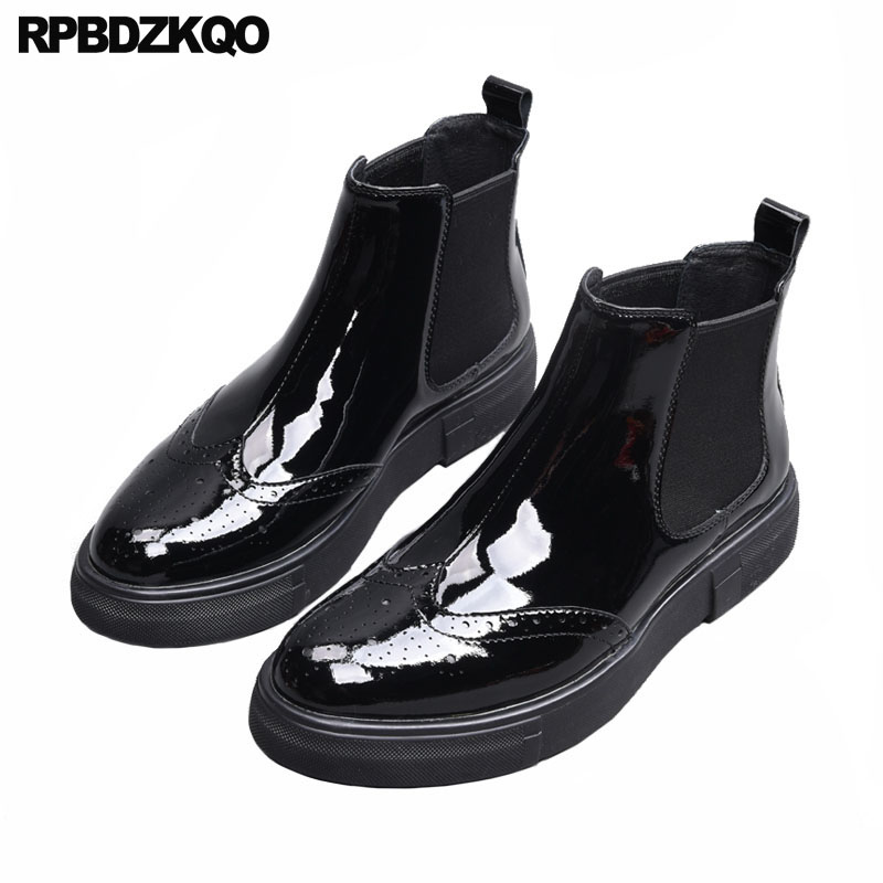 Chelsea Luxury Sneakers Winter Trainer Stylish Fur Booties Shoes Casual Brogue Mens Black Patent Leather Boots Wingtip AnkleChelsea Luxury Sneakers Winter Trainer Stylish Fur Booties Shoes Casual Brogue Mens Black Patent Leather Boots Wingtip Ankle