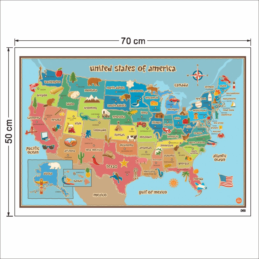 Colorful USA's Map Wall Sticker Living Roon Home Class