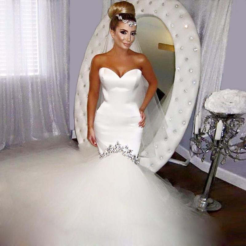 Wedding dress 2016 new elegant crystal beaded tulle satin bridal gown