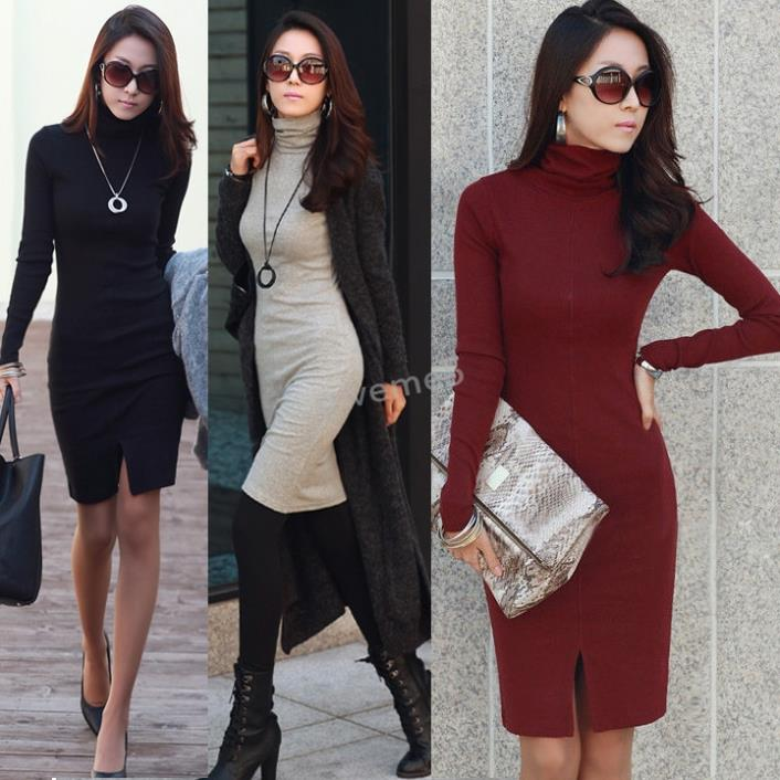 39272cf8f2d 2017 Fashion Women s Sweaters Autumn Turtleneck Solid Long Sleeve Pullovers  Dress Jumper Ladies Plus Size M XL-in Dresses from Women s Clothing on ...