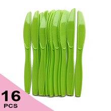16 шт. в упаковке зеленая пластиковая одноразовая посуда нож день рождения принадлежности костюм для празднования дня рождения