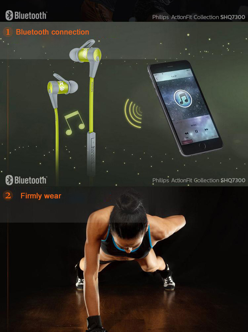 Philips SHQ7300 Sports Bluetooth Headphones with Neckband Microphone Wire Control Waterproof Headset for Iphone X Official Test