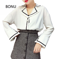 BONU Spring Solid Women Causal Basic Blouse Shirt Simple Design Pearl Buttons Office Lady V Neck