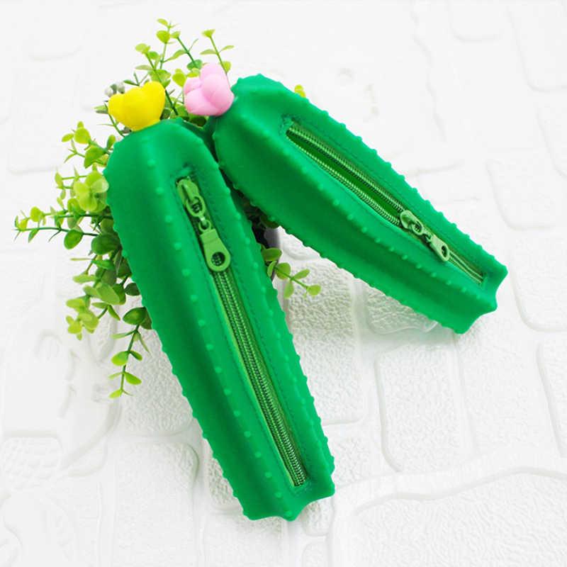 Kreatywne urocza silikonowy ołówek torba kawaii biurowe cartoon dzieci ołówek case brązowy niedźwiedź królik koala figurki