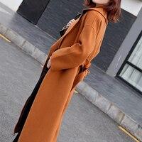 HLICYUM jacket women's wool blend coat long korean coat ladies cashmere Solid color coats winter woman 2018 plus size belt coat