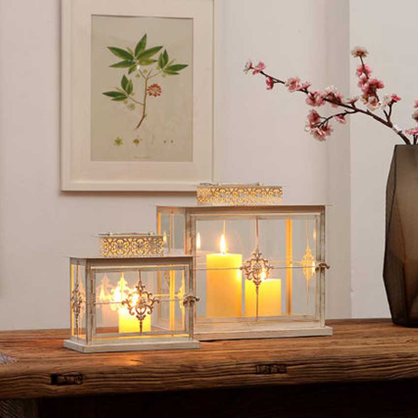 Moroccan Lantern Windproof Iron Glass Candle Lantern Glass Candle Holder  For Outdoor Indoor Decoration For Home Wedding Decor