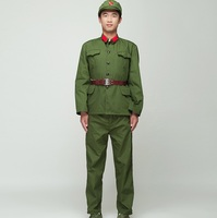 North Korean Soldier Uniform Red guards green performance costume stage film television Eight Route Army Outfit Vietnam Military