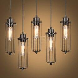 Retro wiatr przemysłowe klatka dla ptaków wisiorek światła rocznika kreatywny żelaza E27 lampa wisząca do jadalni lada do restauracji i baru w Wiszące lampki od Lampy i oświetlenie na
