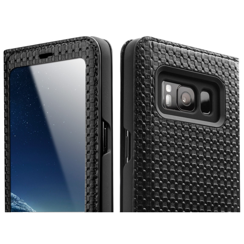 QIALINO Fashion Flip Case for Samsung Galaxy S8 & S8 Plus Luxury Handmade Genuine Leather Cover for Samsung S8 5.6/6.1-inch