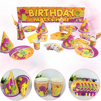Cartoon Dinosaur Theme Party Disposable Party Tableware Set for Kids Birthday party decoration supplies