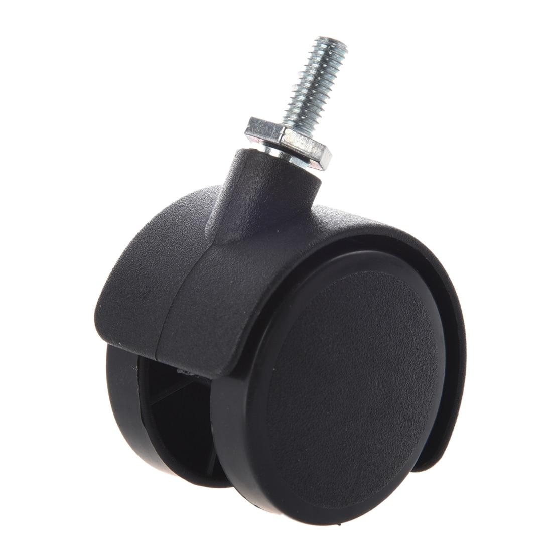 Rodízio giratório da roda dupla da haste 40mm rosqueada de 6mm preto-0