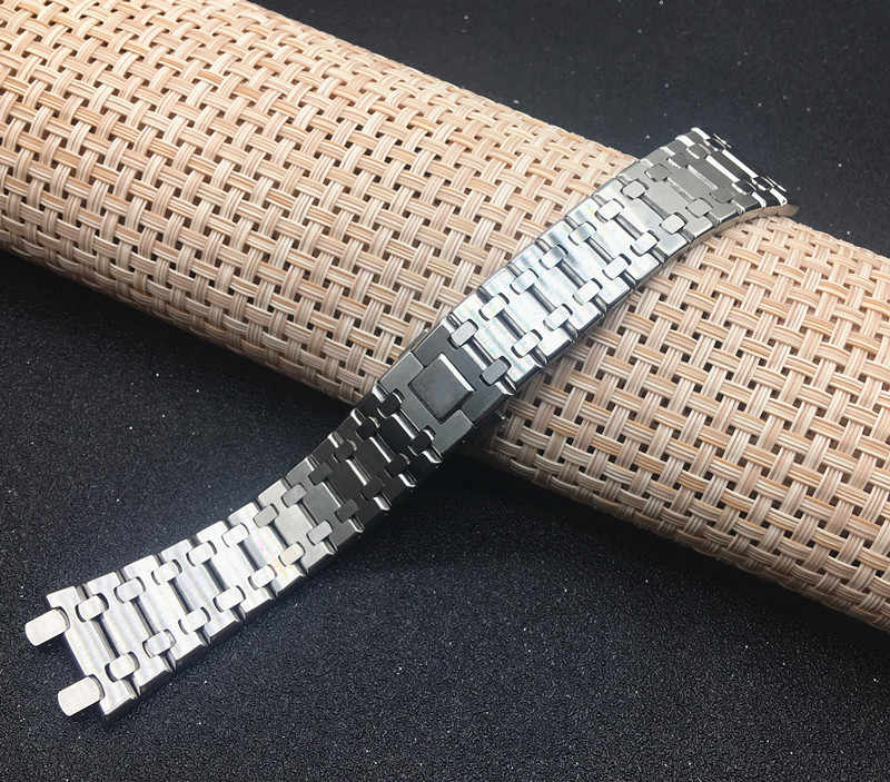 Top Quality watchband 21mm 26mm Silver Men women Full Stainless Steel Watch Band Bracelet For AP ROYAL OAK strap buckle logo on