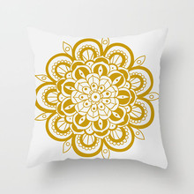 Fuwatacchi Gold Stamping Mandala Black Printed Pillow Cover Floral Cushion Pillows for Sofa Car Bedroom Decor