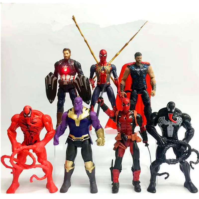 17CM Avengers Infinity War Iron Man Thanos Venom Deadpool Spider Man Movable Joints Lights Action Figure PVC Model Kids Toy H33217CM Avengers Infinity War Iron Man Thanos Venom Deadpool Spider Man Movable Joints Lights Action Figure PVC Model Kids Toy H332