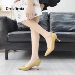 Для женщин модные классические высокое качество из искусственной кожи без застежки на Обувь на высоких каблуках женская обувь Симпатичные