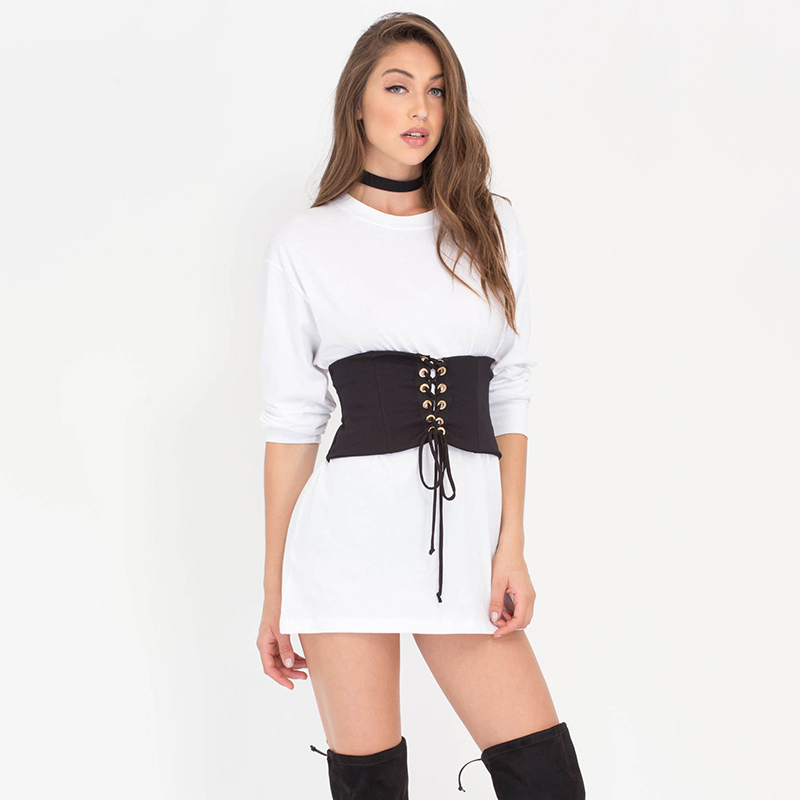 Lace Up Belts Fashion Denim Wide Adjustable Black Belts For Women 2018 Sexy Back Zipper Casual Ceinture Femme Belt