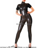 Black With Metallic Pewter Short Sleeves Sexy Latex Catsuit Front to Crotch Zipper Rubber Bodysuit Zentai Overall LTY 0061