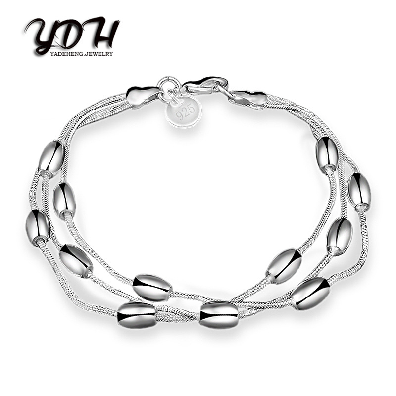 KAMEIER European Elegant shiny bracelets & bangles and Three lines of light beads bracelets for women as party lovely gift