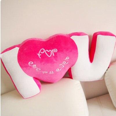 Кэндис Го Plsuh игрушка кукла письмо слова я тебя люблю Сердце талии диван подушки Lover Подарок на день рождения Рождественский подарок - Высота: pink