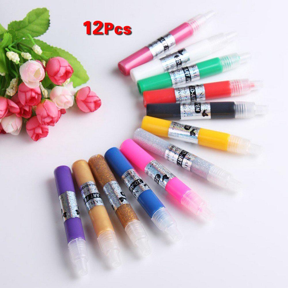Fashion Nails Tools 12colors Nail Art Polish Pen For: 12 Colors DIY 3D Nail Art Painting Polish Pen Set Girl