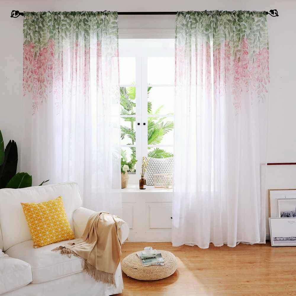 Wisteria Flower Printed Sheer Chiffon Tulle Curtains Ins Nordic Style Curtains For Living Room Bedroom Kids Window Balcony 27