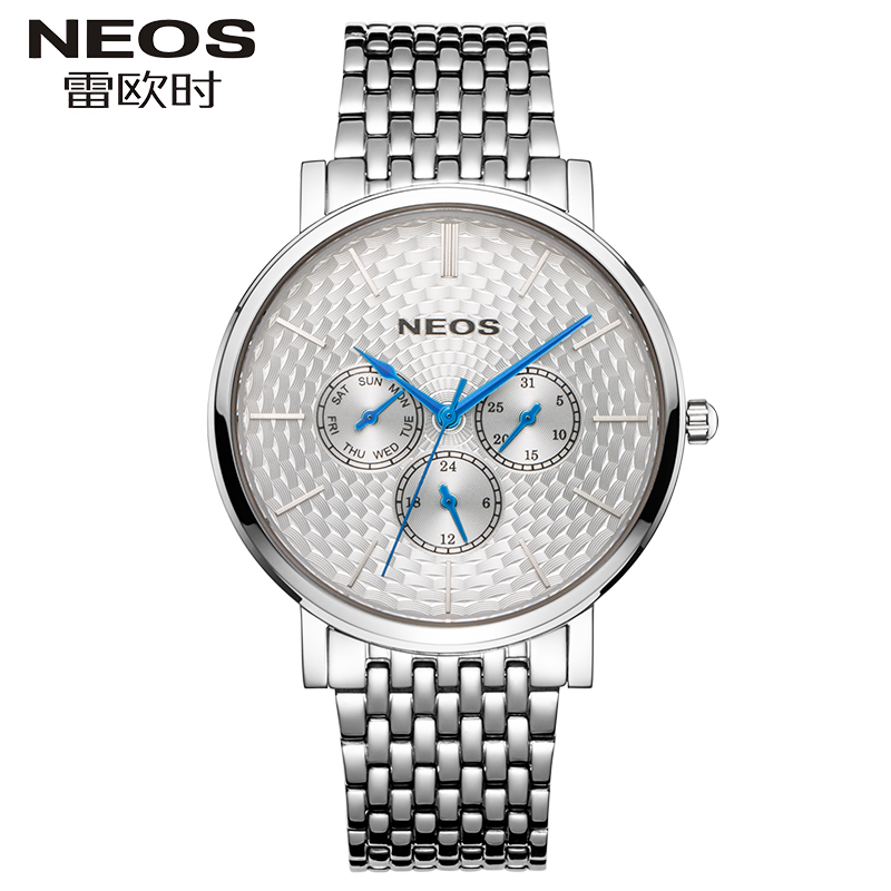 NEOS Mens Simple Quartz Watch Steel With Waterproof Week Calendar Multi-function Watch 24 Hours Watch Classic  StyleNEOS Mens Simple Quartz Watch Steel With Waterproof Week Calendar Multi-function Watch 24 Hours Watch Classic  Style