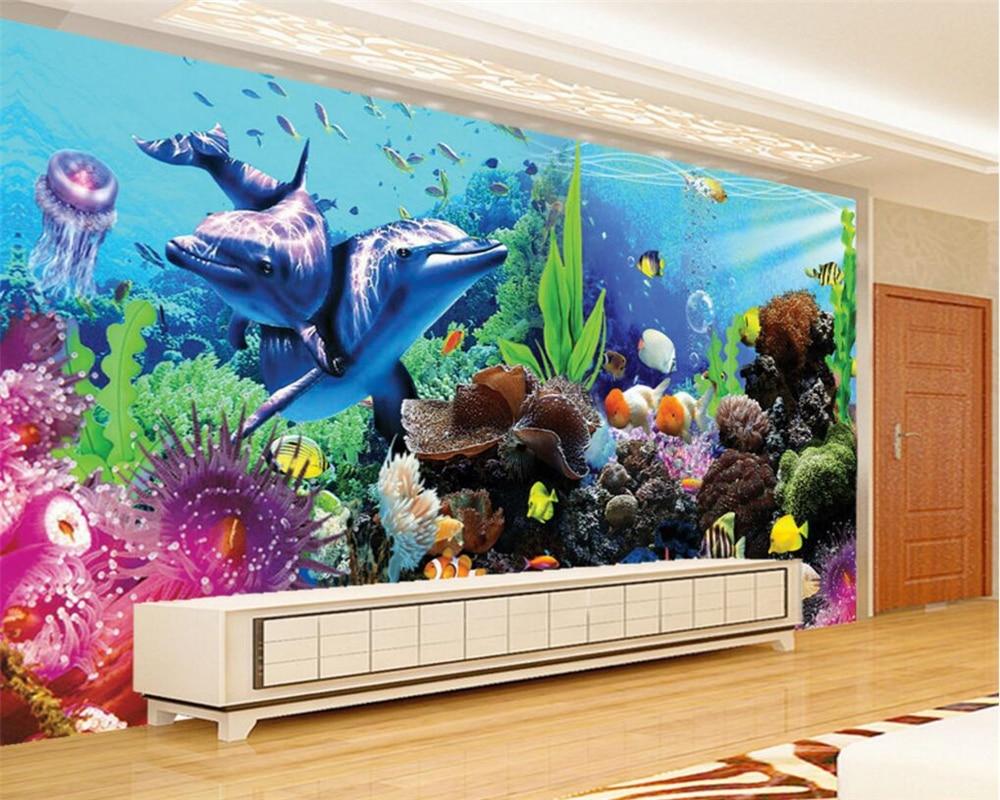 Beibehang Custom 3D Wallpaper Underwater World Aquarium 3D Dolphin TV Childrens room wall background wallpaper for walls 3 d
