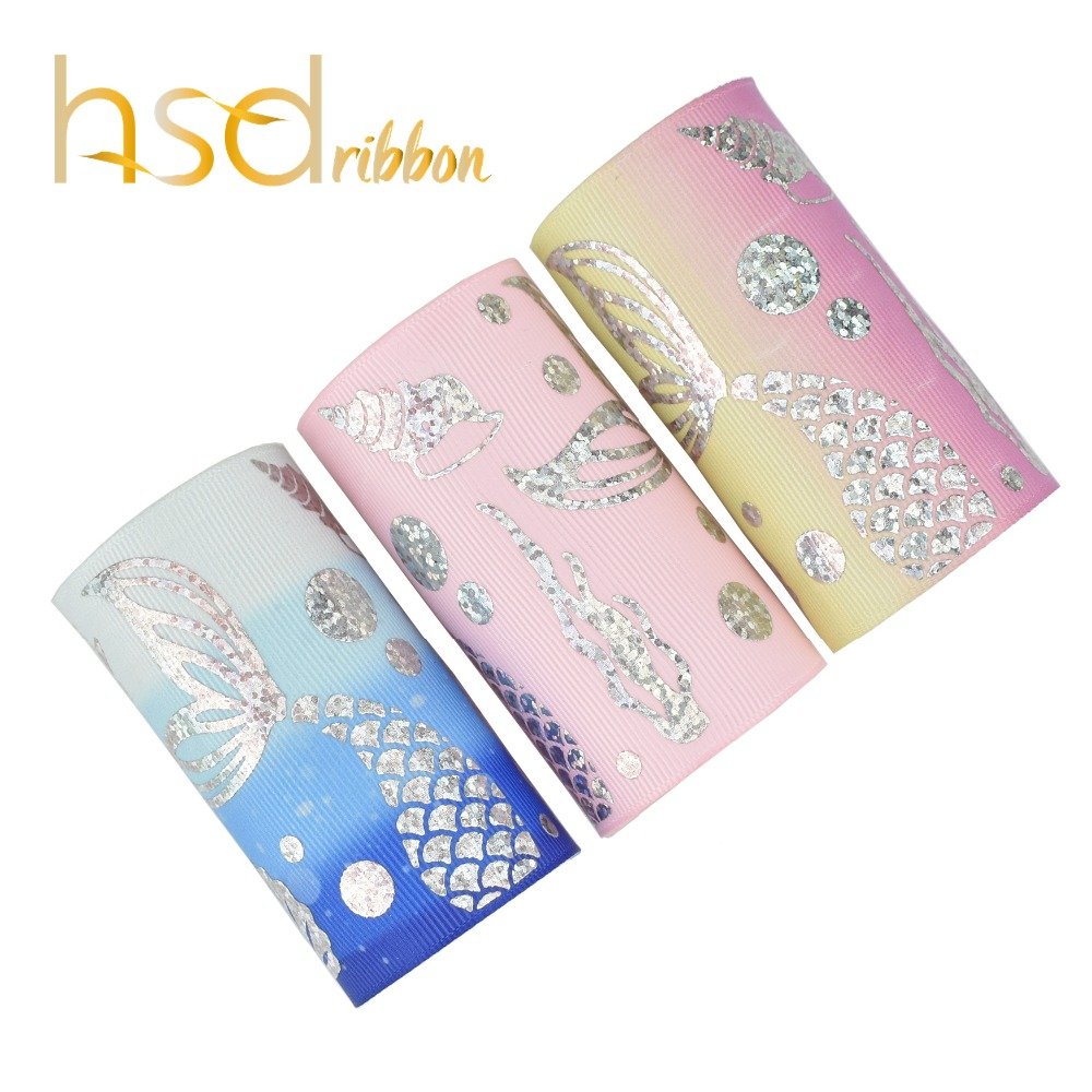HSDRibbon 75mm 3inch gold laser foil Mermaid series on heat transfer Grosgrain Ribbon