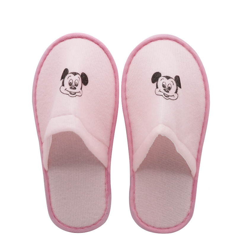 5pcs Cartoon Blue Pink Hotel Children Slippers Kids Girls Boys Disposable Slippers Towelling Hotel Travel Spa Guest Shoes