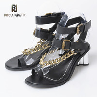 Prova Perfetto 2018 Good Quality Popular with Metal Decoration Sandals Thick Heels Cow Leather Casual Sexy Thong Shoes Sandals