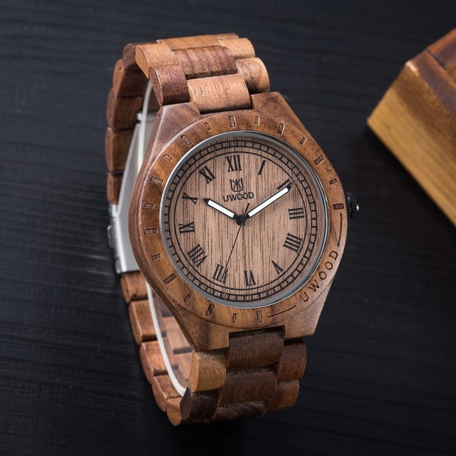 UWOOD Men's Wooden Roman Numbers Natural Wood Quartz Watches 2