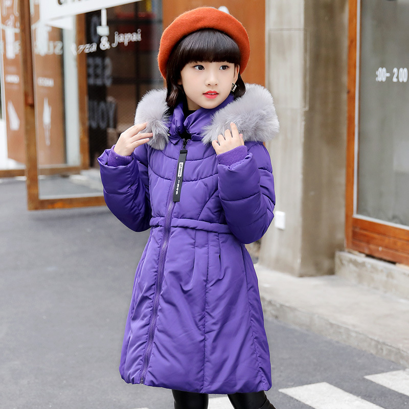 High Quality Fashion Children Winter Jacket Girl Winter Coat Kids Warm Thick Fur Collar Hooded Long Down Coats Teenage 4-14Y new fashion kids warm thick fur collar hooded daddy chen children winter jacket girl winter coat long down coats for teenage