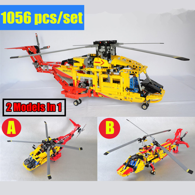 New 2 Model in 1 Rescue helicopter Deformable fit technic city plane model building block bricks