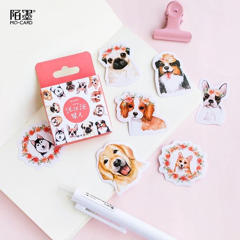 46 Pcs/pack Various Puppy Dog Boxed Decorative Stickers Scrapbooking DIY Diary Album Stick Label Decor