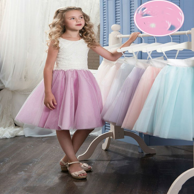 Knee-Length First Communion Dresses A-Line Little Girls Dresses Lace Girls Pageant Dresses Kids Evening Gowns for Girl Birthday blue pageant dresses for little girls a line spaghetti straps solid appliques crystal lace up flower girl first communion gowns