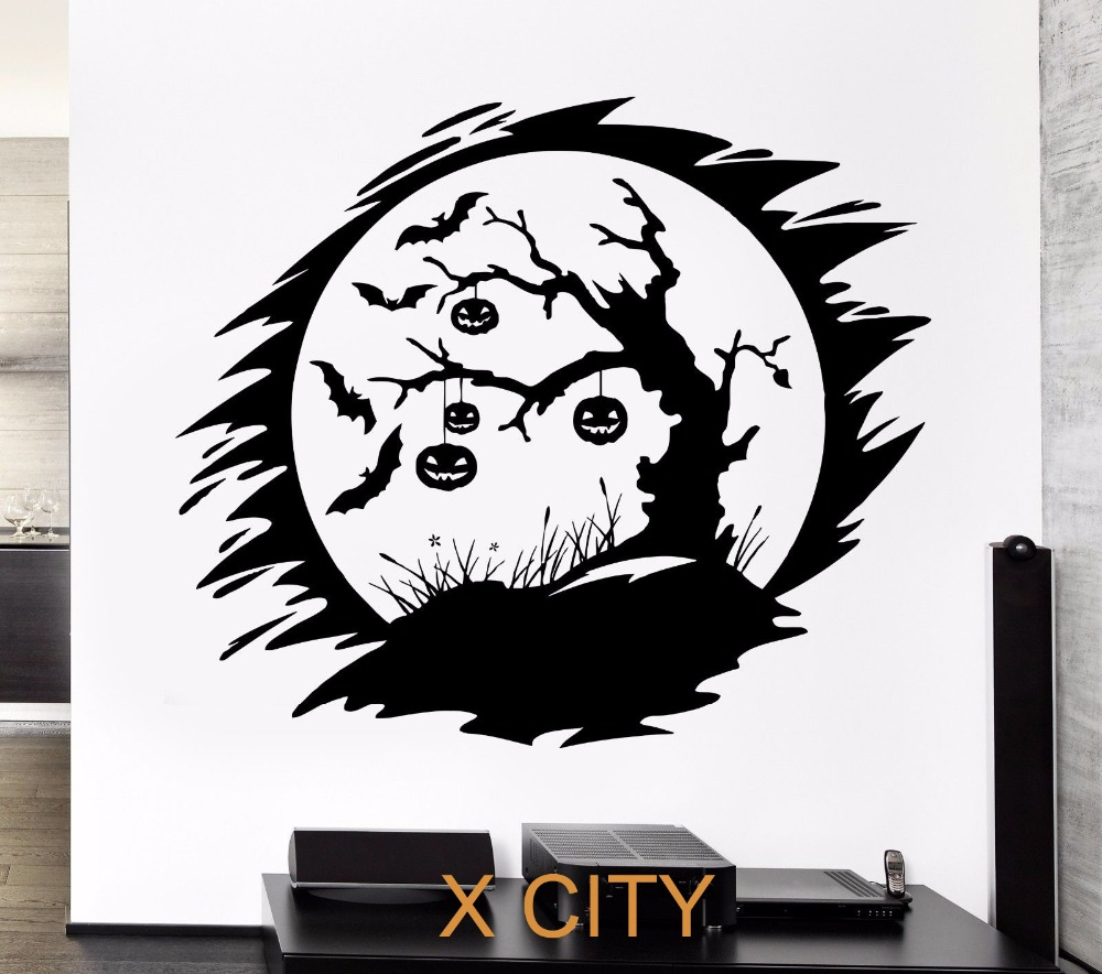 online get cheap vinyl tree wall art decals aliexpress com darkness night bats pumpkin halloween tree wall art decal sticker removable vinyl transfer stencil mural home