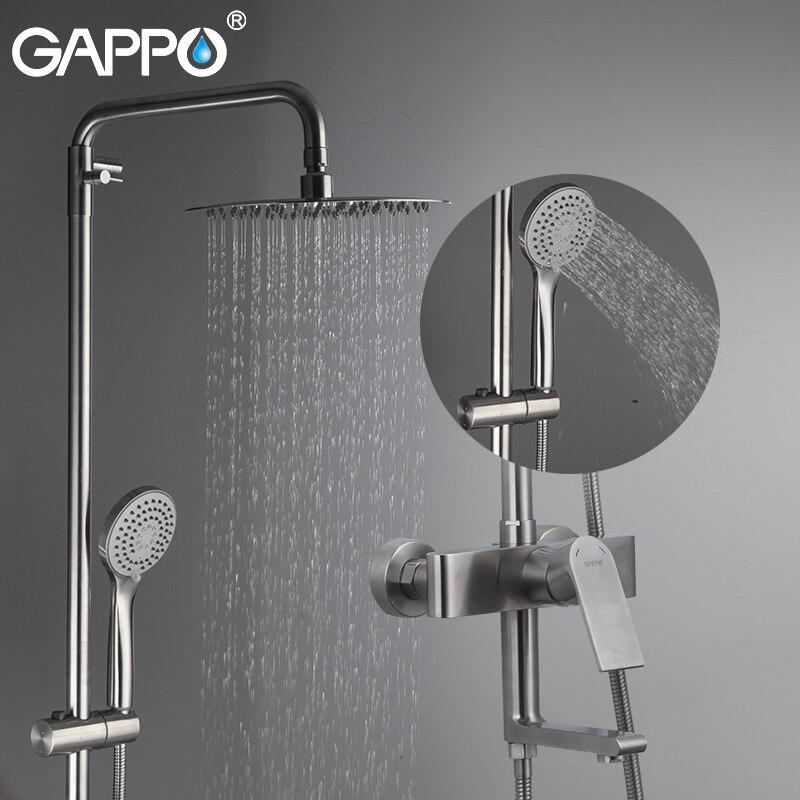 GAPPO Doccia il Sistema di anheiro rubinetti chrome doccia a parete montato rubinetto del bagno in acciaio inox doccia a pioggia vasca da bagno rubinetto