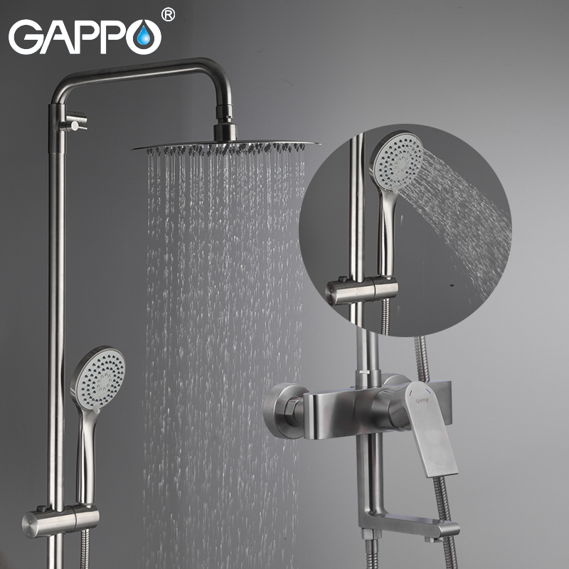 GAPPO Shower System Do Anheiro Taps Chrome Wall Mounted Shower Faucet Stainless Steel Bathroom Rainfall Shower Bathtub Faucet