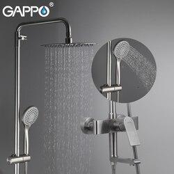 Sistema de Chuveiro torneiras do anheiro GAPPO parede chrome montada torneira do chuveiro do banheiro do aço inoxidável chuveiro rainfall torneira da banheira