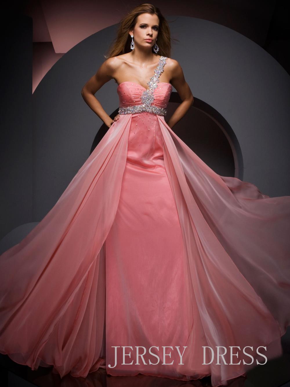 free shipping 2018 Pink single oblique vestidos formales long beaded chiffon brides formal gown Graduation   bridesmaid     dresses