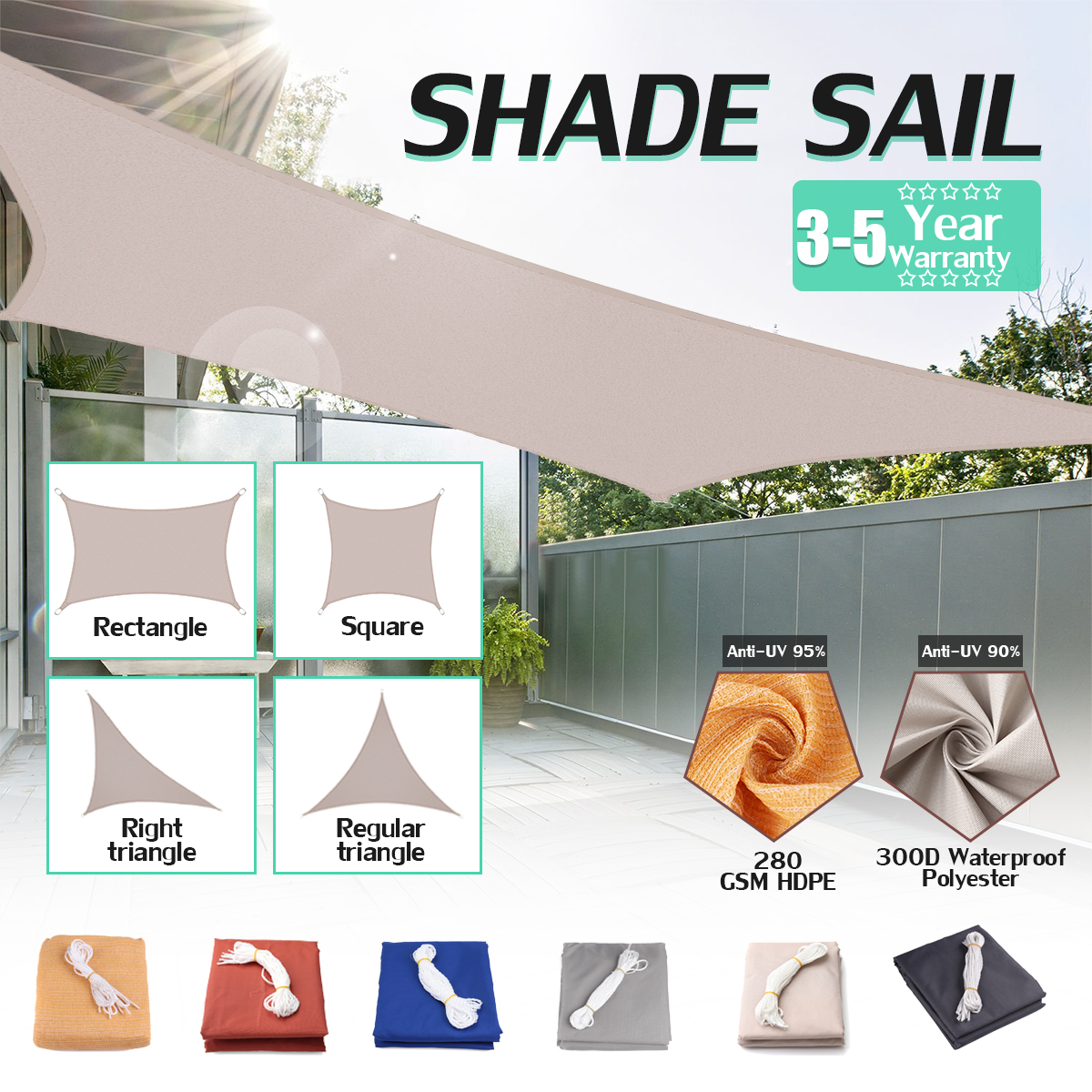 3x4x5m 280GSM HDPE Right Triangle Awning Shade Sail Sun Outdoor Waterproof Sun Shade Sail Garden Patio Pool Camping Picnic Tent triangle sun презентация ep и новое live шоу