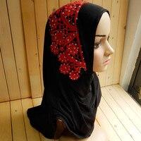 2017 New style Bonnet Hijabs Solid Color Sequins and Appliques Lace Noble 12 pcs per dozen Islamic women Caps Mix color Turbans