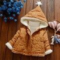 2016 impresión caliente del Invierno Lindo pequeño Bebé estrella de la Chaqueta de Invierno Gruesa de Algodón Muchachas Del Niño Del Desgaste de la Nieve Del Bebé Abrigo