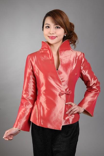 Orange envío libre de las nuevas mujeres chinas de satén de poliéster chaqueta de primavera escudo flores tamaño sml xl xxl xxxl mn 0036