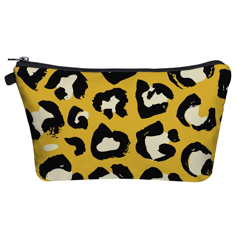 Makeup Bag Toiletry Pouch Waterproof Cosmetic Bag With Leopard Patterns