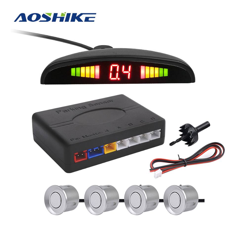 AOSHIKE New 4 Sensors Buzzer 22mm Car Parking Sensor Kit Reverse Backup Radar Sound Alert Indicator Probe System 12V Backup
