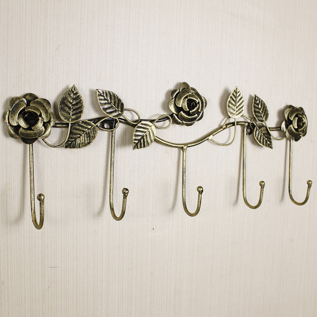 European style iron rose design decorative wall hoook wall mounted ...